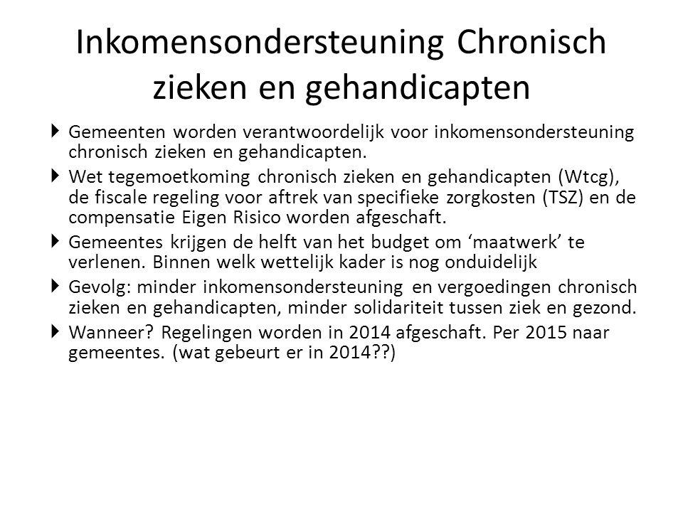 Inkomensondersteuning Chronisch zieken en gehandicapten