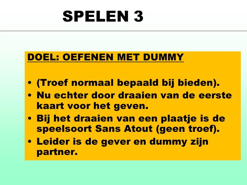 SPELEN 3 DOEL: OEFENEN MET DUMMY (Troef normaal bepaald bij bieden).