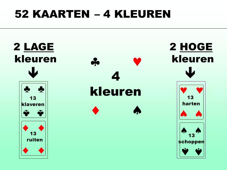        4 kleuren 52 KAARTEN – 4 KLEUREN 2 LAGE kleuren ♣ ♣