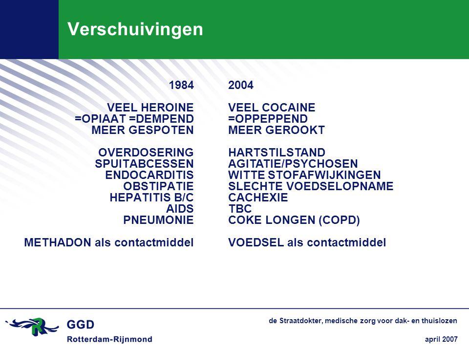 Verschuivingen 1984 2004 VEEL HEROINE VEEL COCAINE =OPIAAT =DEMPEND