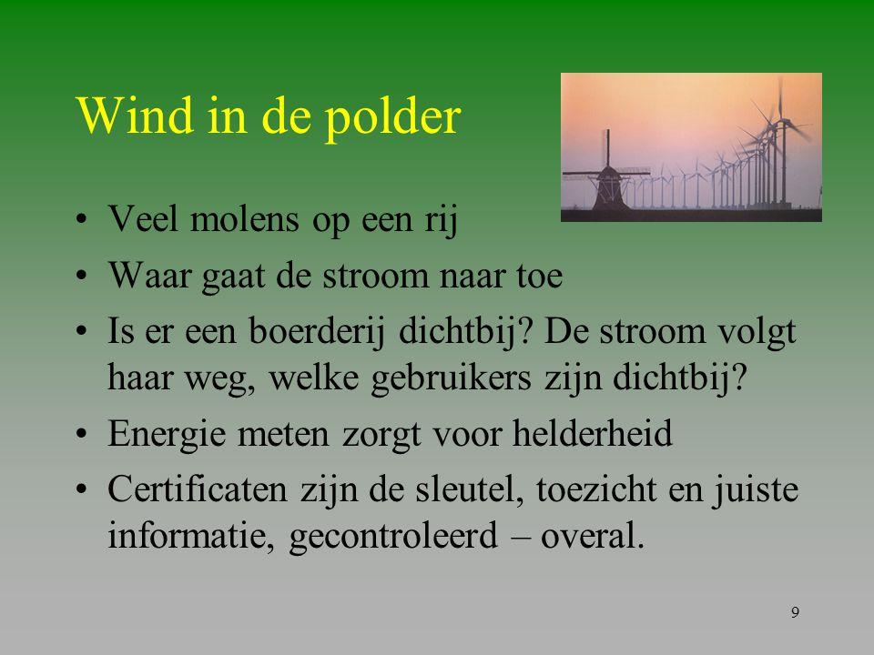 Wind in de polder Veel molens op een rij Waar gaat de stroom naar toe