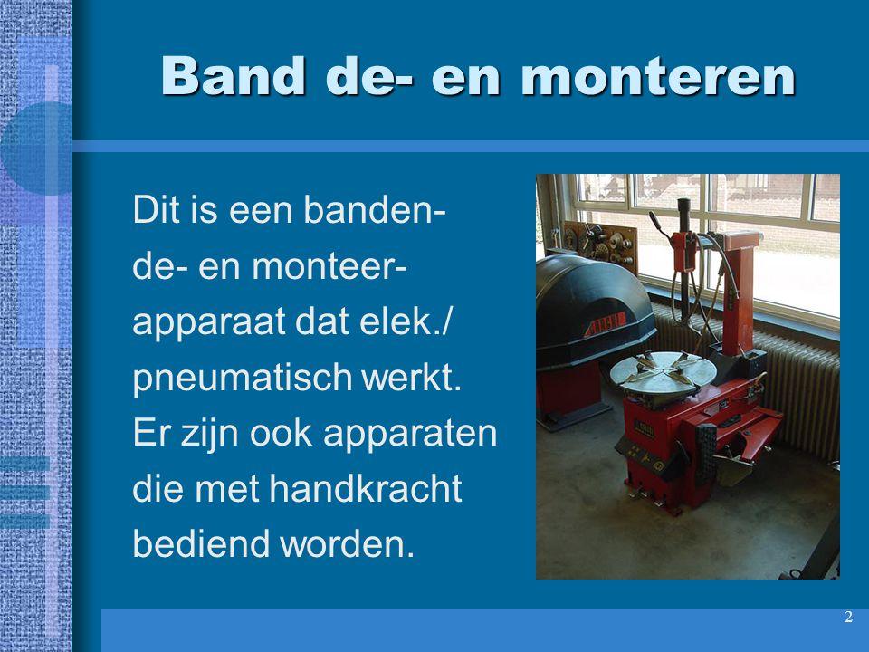 Band de- en monteren Dit is een banden- de- en monteer-