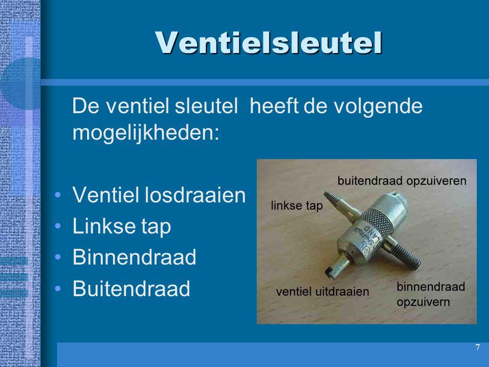 Ventielsleutel De ventiel sleutel heeft de volgende mogelijkheden: