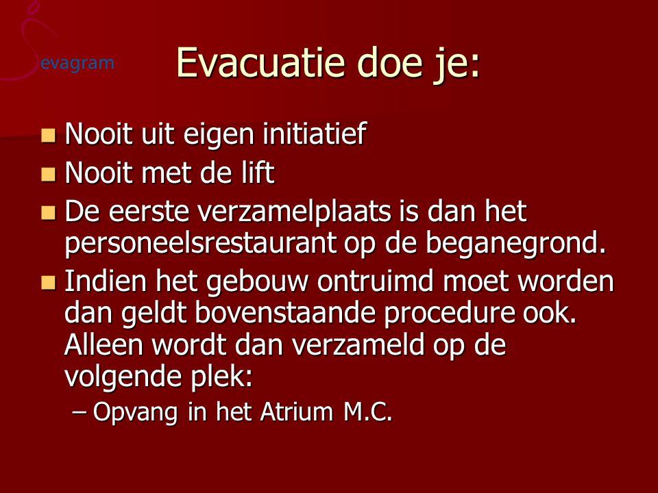 Evacuatie doe je: Nooit uit eigen initiatief Nooit met de lift