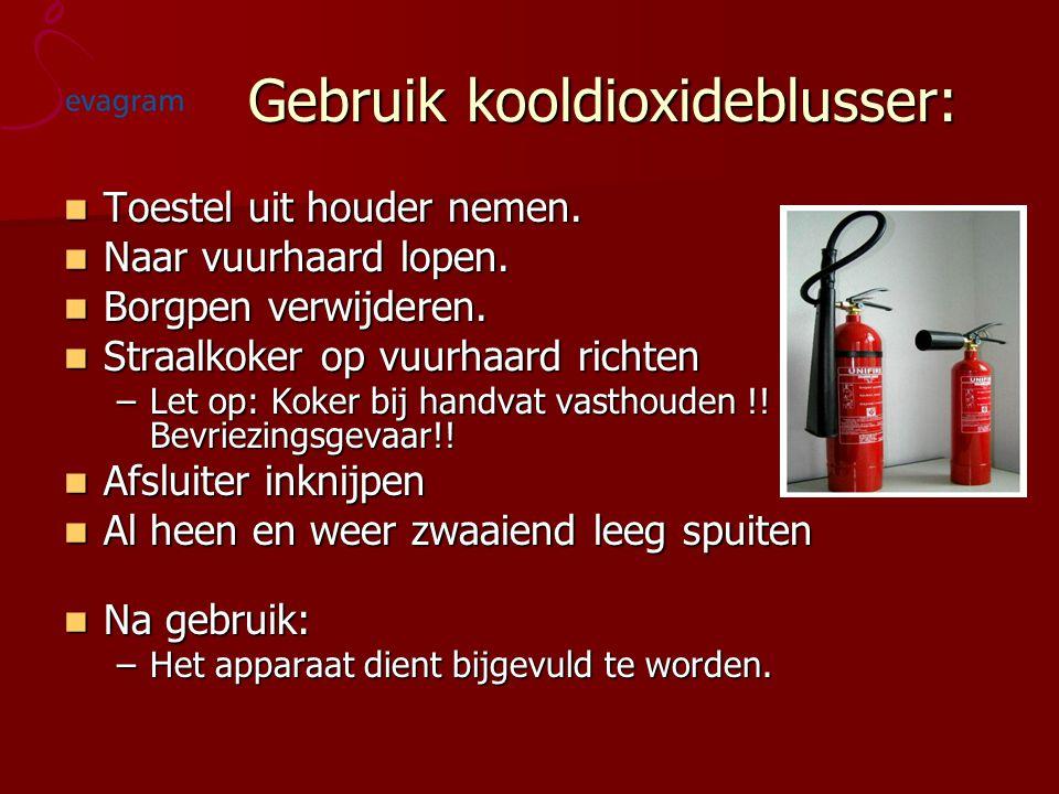 Gebruik kooldioxideblusser: