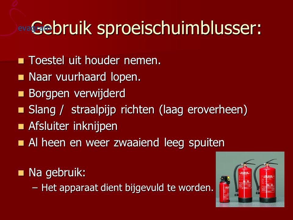 Gebruik sproeischuimblusser: