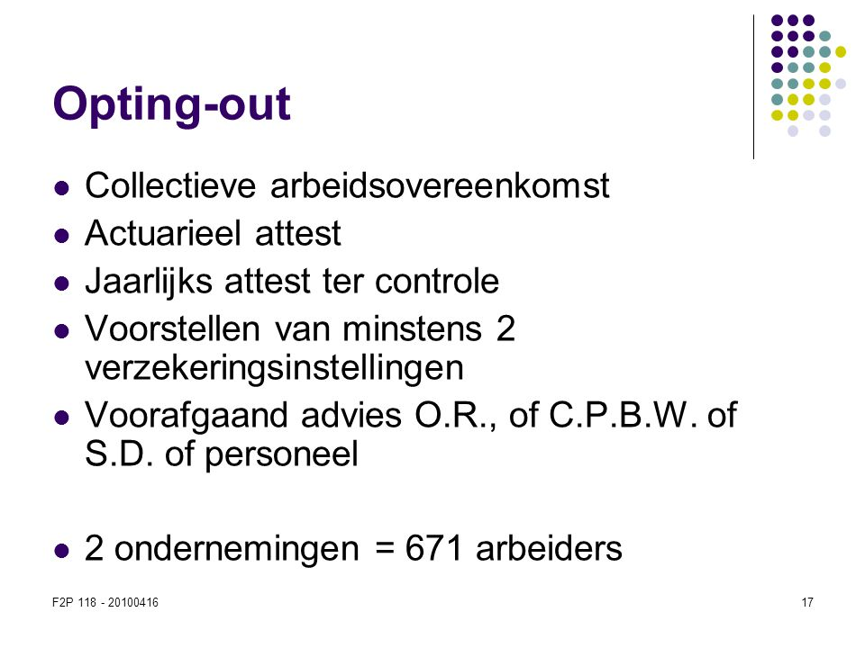 Opting-out Collectieve arbeidsovereenkomst Actuarieel attest