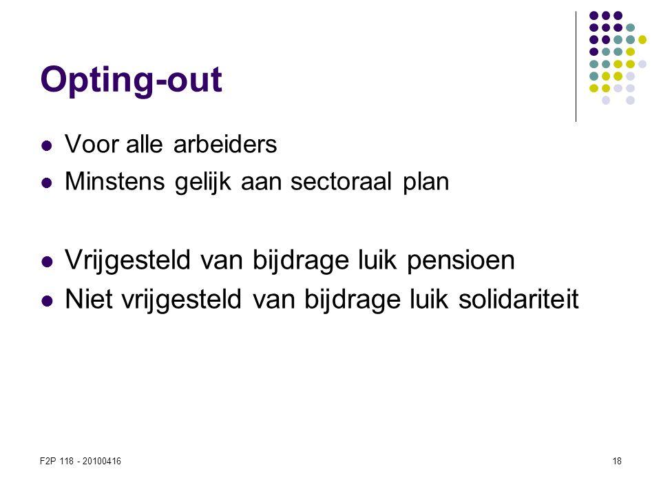 Opting-out Vrijgesteld van bijdrage luik pensioen