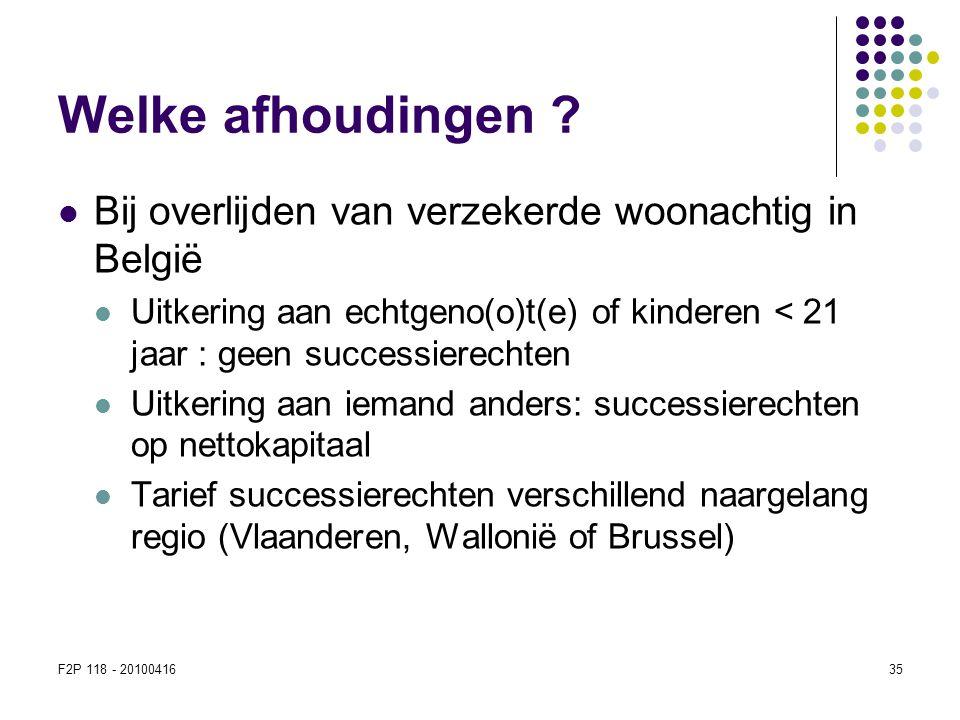 Welke afhoudingen Bij overlijden van verzekerde woonachtig in België
