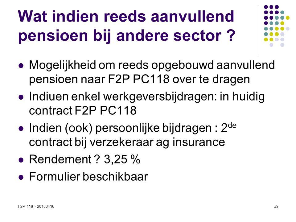 Wat indien reeds aanvullend pensioen bij andere sector