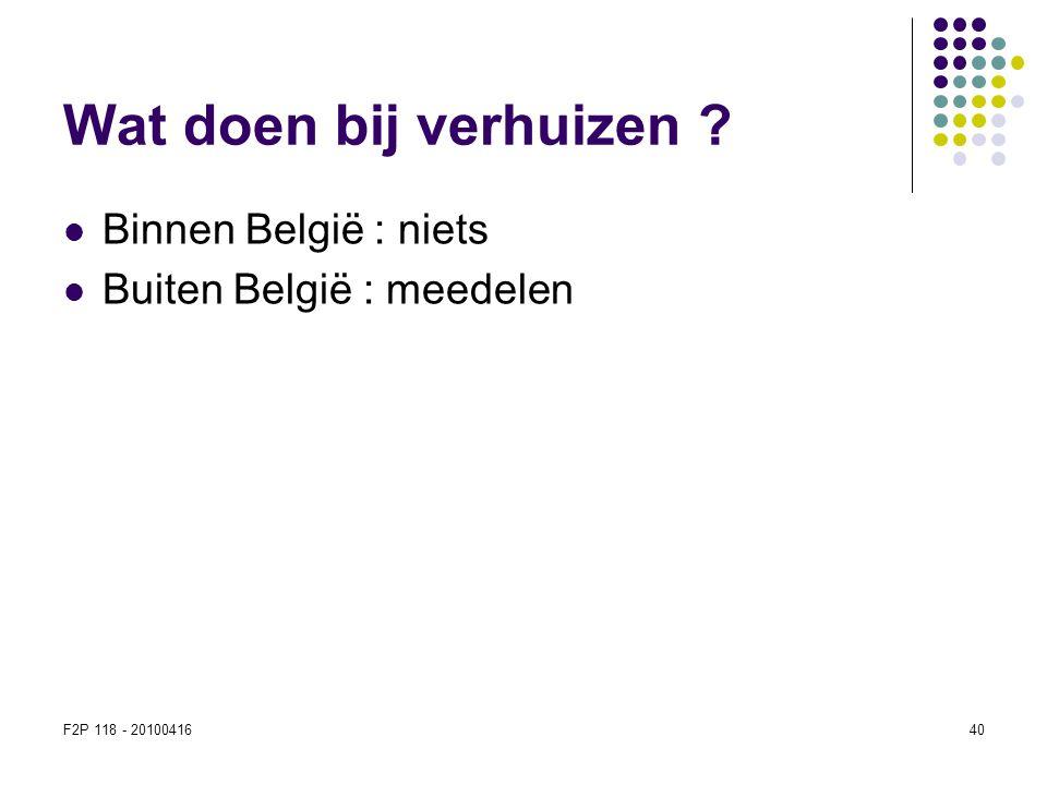 Wat doen bij verhuizen Binnen België : niets