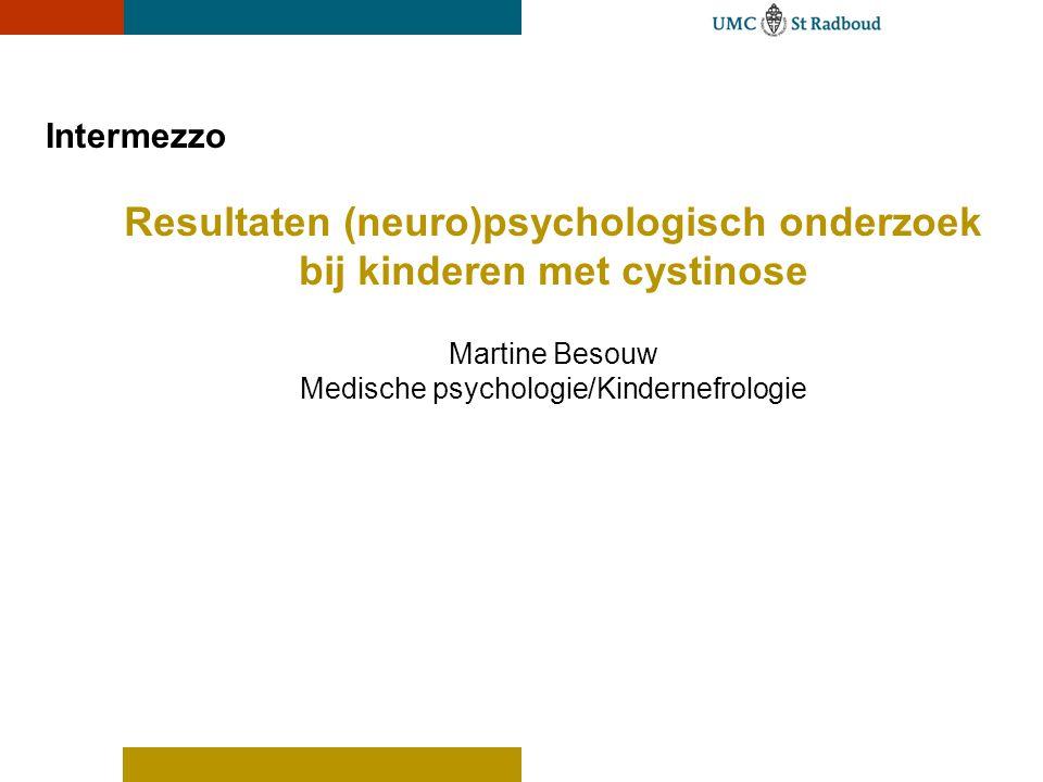 Resultaten (neuro)psychologisch onderzoek bij kinderen met cystinose