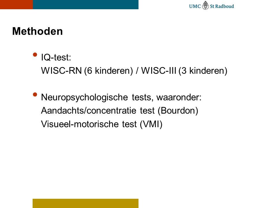 Methoden IQ-test: WISC-RN (6 kinderen) / WISC-III (3 kinderen)