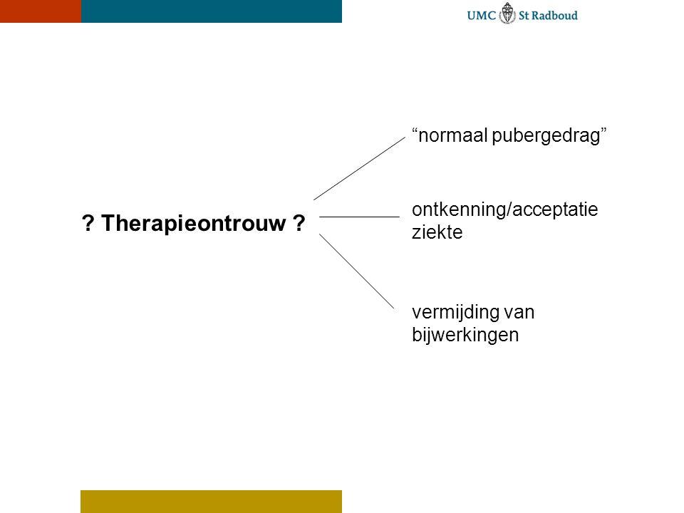 Therapieontrouw normaal pubergedrag ontkenning/acceptatie ziekte