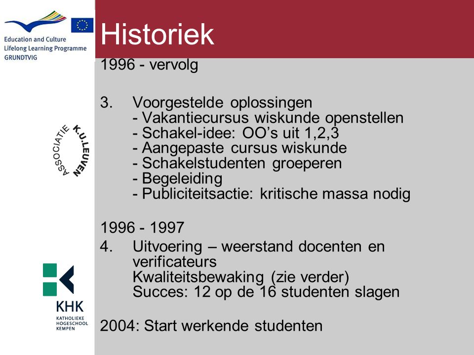 Historiek 1996 - vervolg.