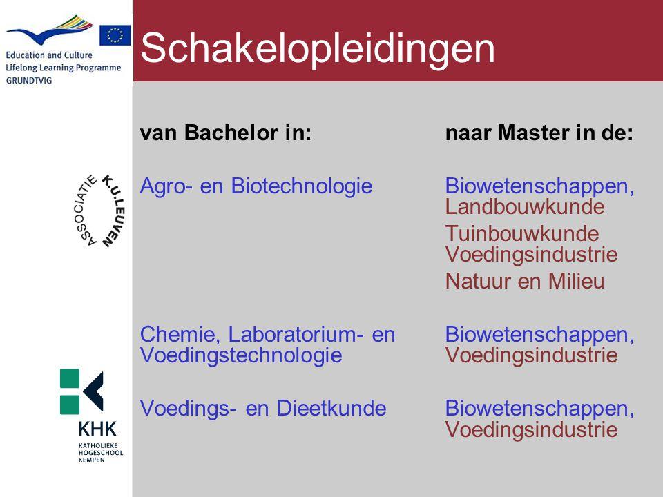 Schakelopleidingen van Bachelor in: naar Master in de:
