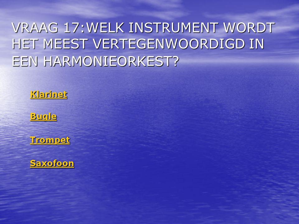 VRAAG 17:WELK INSTRUMENT WORDT HET MEEST VERTEGENWOORDIGD IN EEN HARMONIEORKEST
