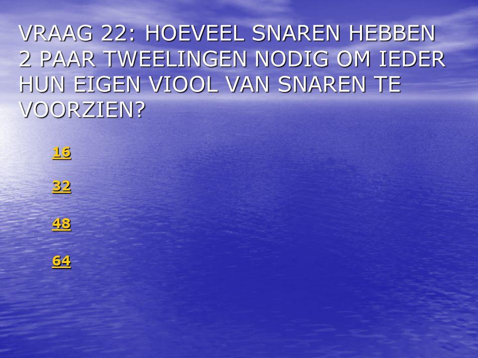 VRAAG 22: HOEVEEL SNAREN HEBBEN 2 PAAR TWEELINGEN NODIG OM IEDER HUN EIGEN VIOOL VAN SNAREN TE VOORZIEN
