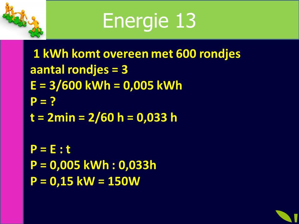 Energie 13 1 kWh komt overeen met 600 rondjes aantal rondjes = 3