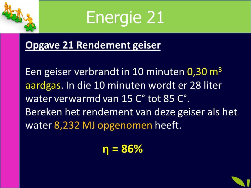 Energie 21 η = 86% Opgave 21 Rendement geiser