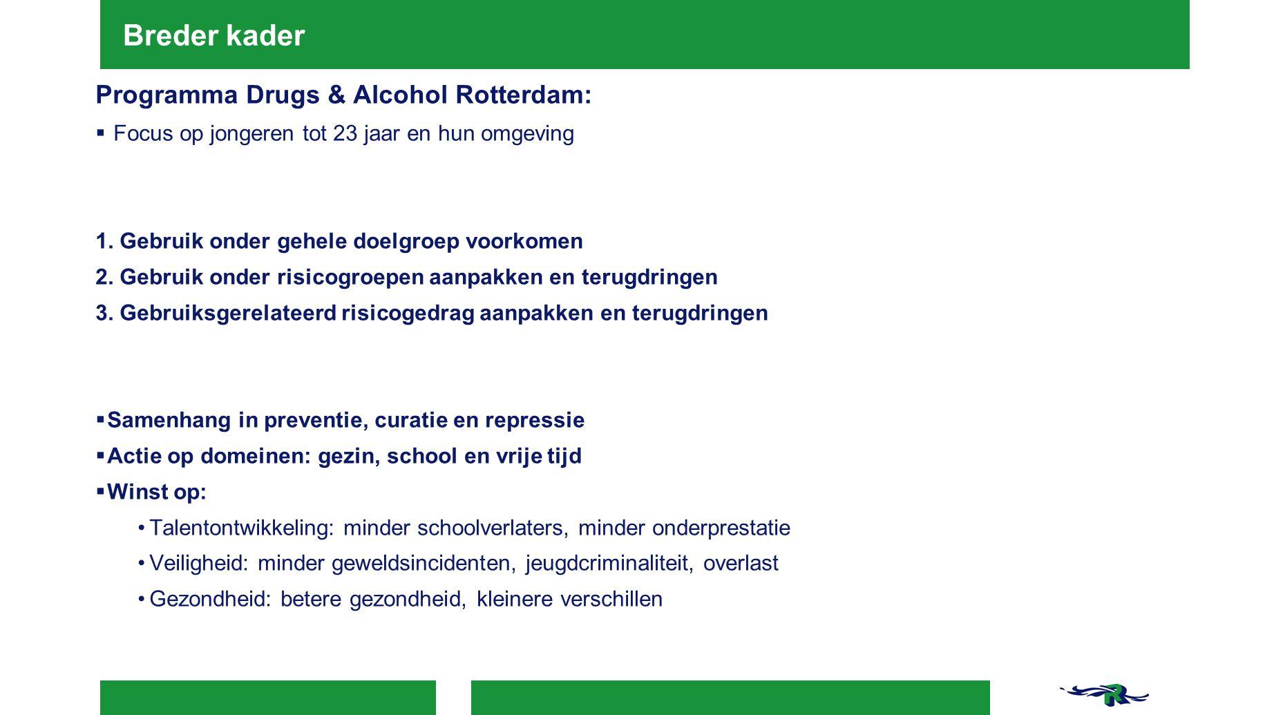 Breder kader Programma Drugs & Alcohol Rotterdam: