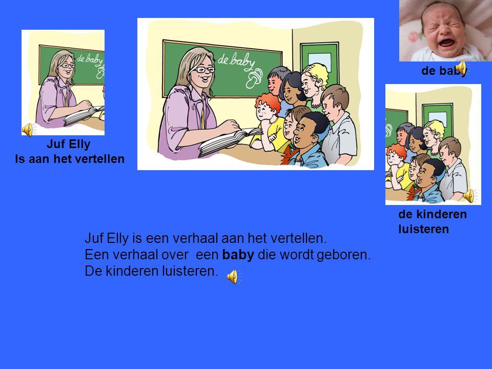 Juf Elly is een verhaal aan het vertellen.