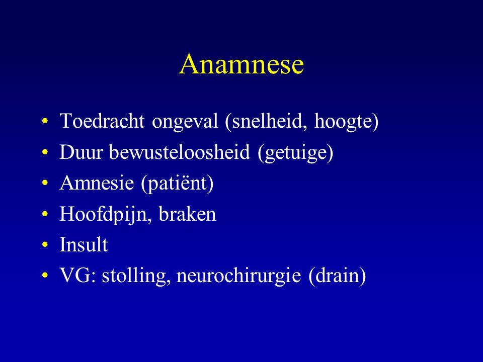 Anamnese Toedracht ongeval (snelheid, hoogte)