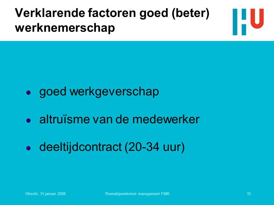 Verklarende factoren goed (beter) werknemerschap