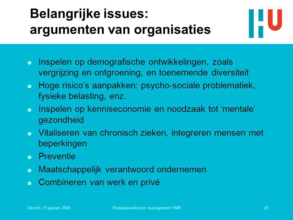 Belangrijke issues: argumenten van organisaties