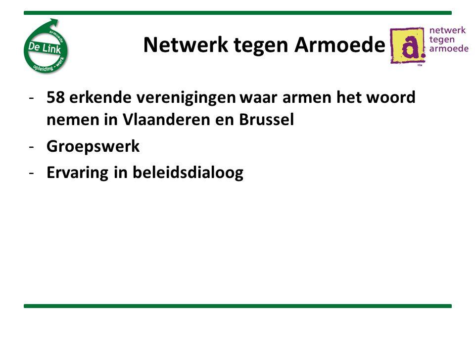 Netwerk tegen Armoede 58 erkende verenigingen waar armen het woord nemen in Vlaanderen en Brussel. Groepswerk.