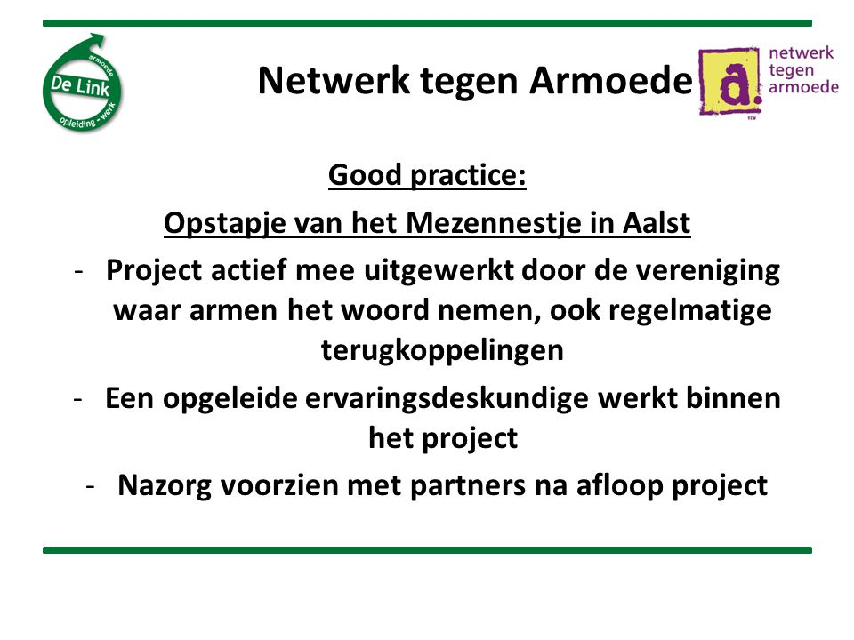 Netwerk tegen Armoede Good practice: