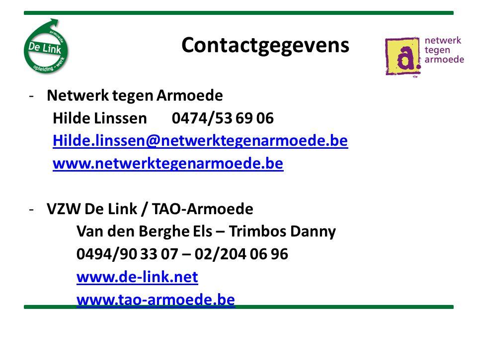 Contactgegevens Netwerk tegen Armoede Hilde Linssen 0474/53 69 06
