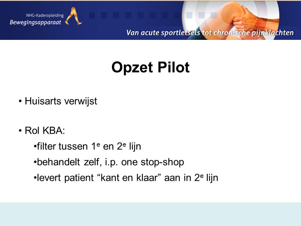 Opzet Pilot Huisarts verwijst Rol KBA: filter tussen 1e en 2e lijn