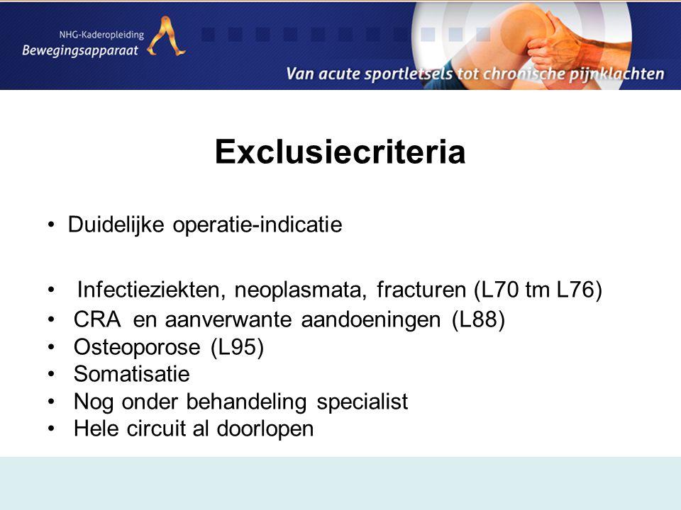 Exclusiecriteria Duidelijke operatie-indicatie
