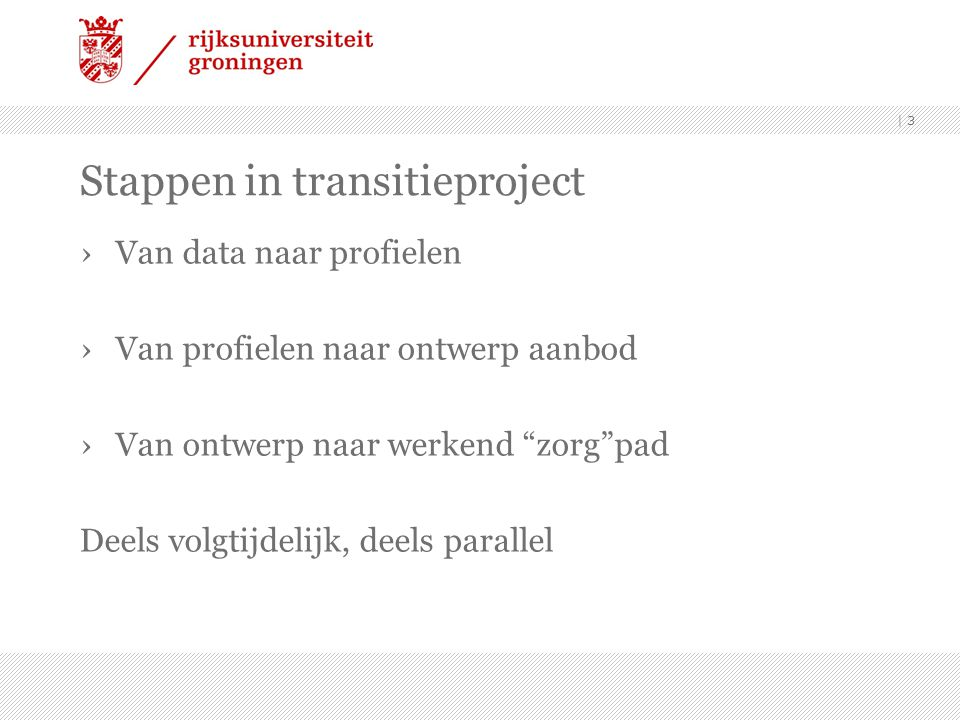 Stappen in transitieproject