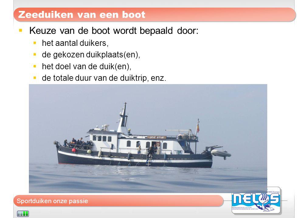 Keuze van de boot wordt bepaald door:
