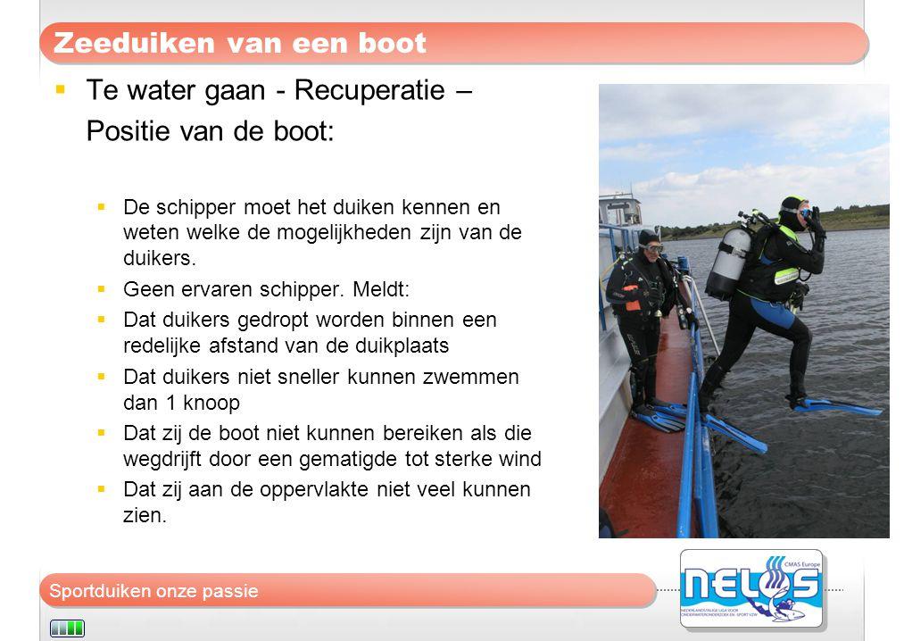 Te water gaan - Recuperatie – Positie van de boot: