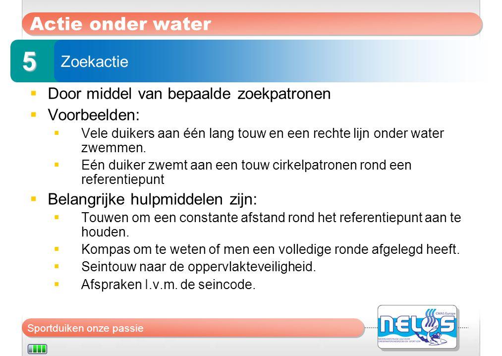 5 Actie onder water Zoekactie Door middel van bepaalde zoekpatronen