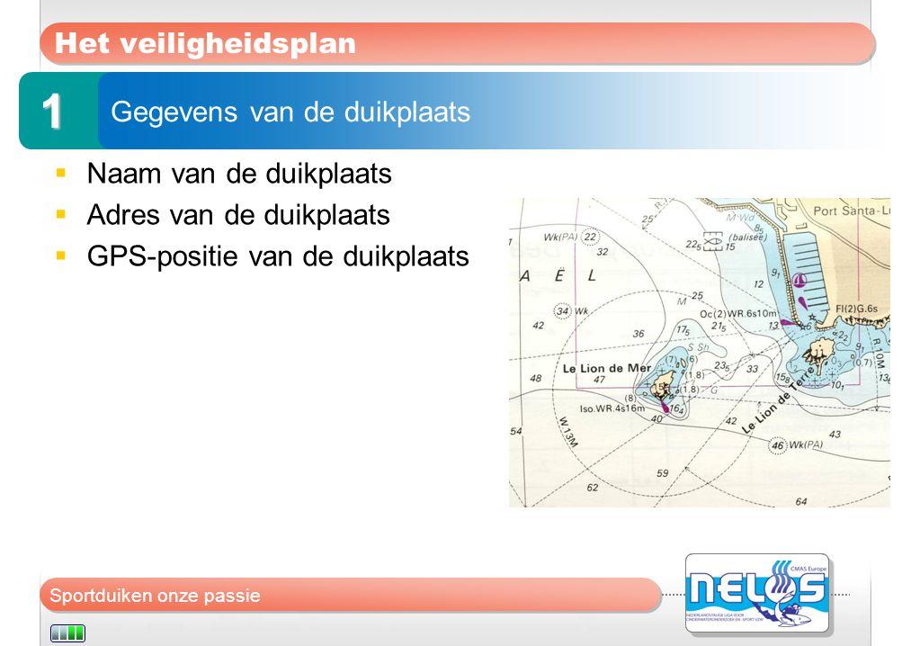 1 Het veiligheidsplan Gegevens van de duikplaats