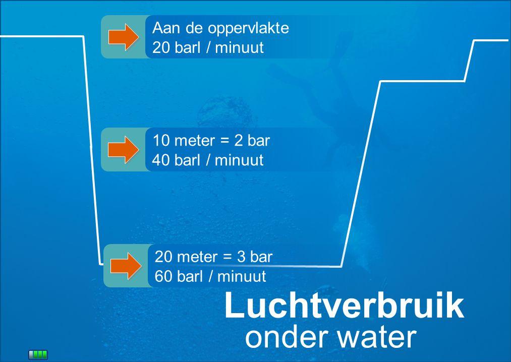 Luchtverbruik onder water Aan de oppervlakte 20 barl / minuut