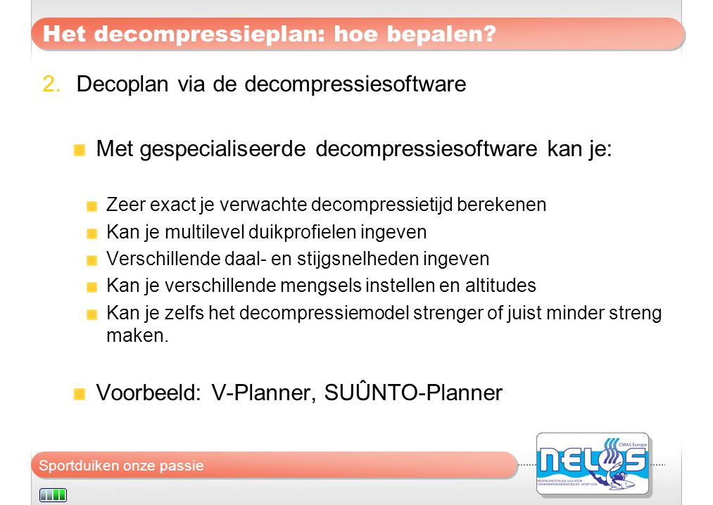 Het decompressieplan: hoe bepalen