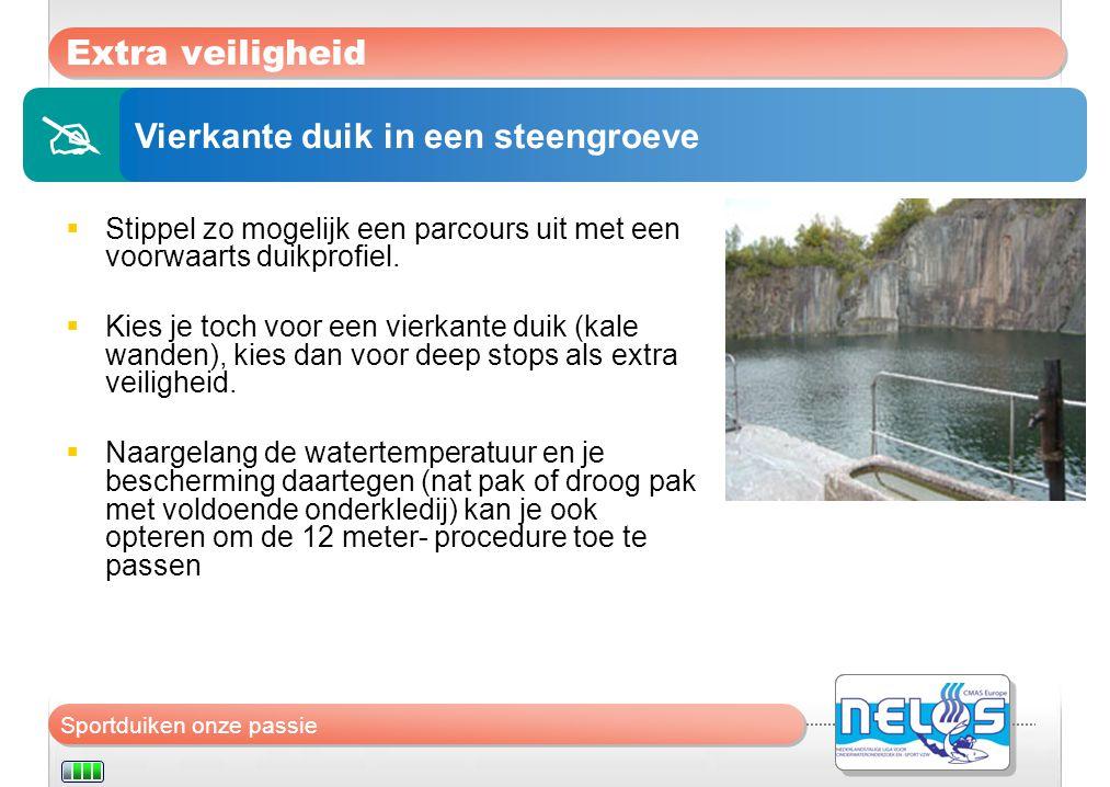  Extra veiligheid Vierkante duik in een steengroeve