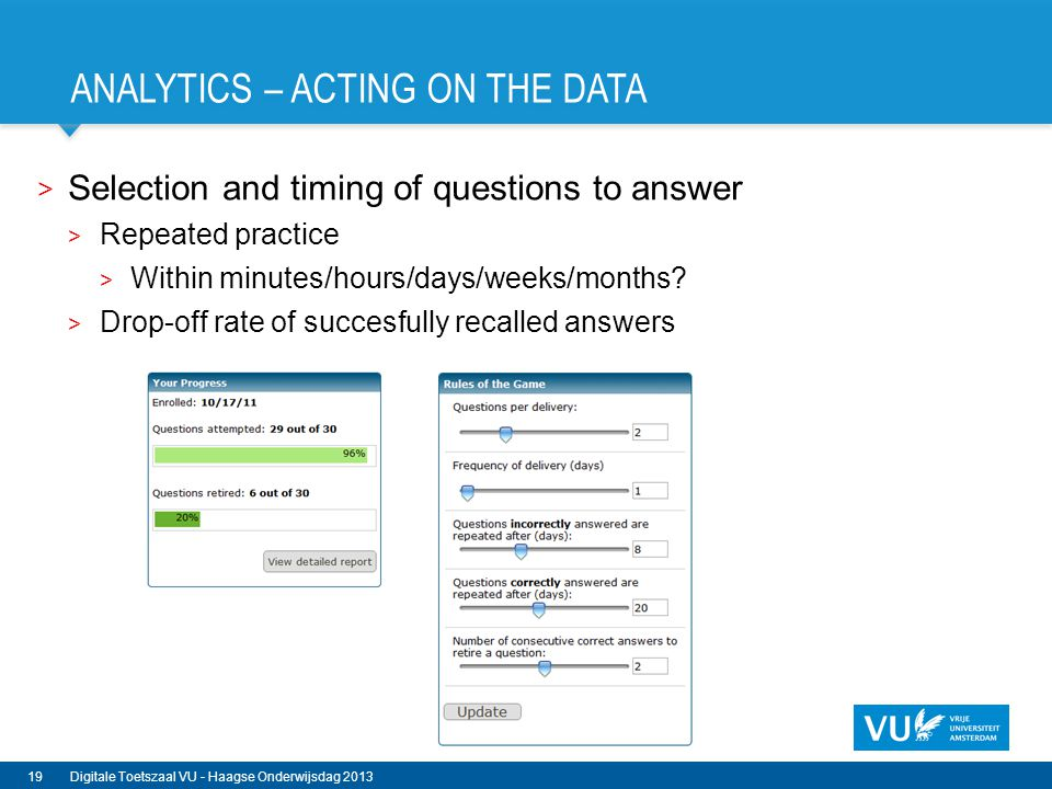 Analytics – acting on the data