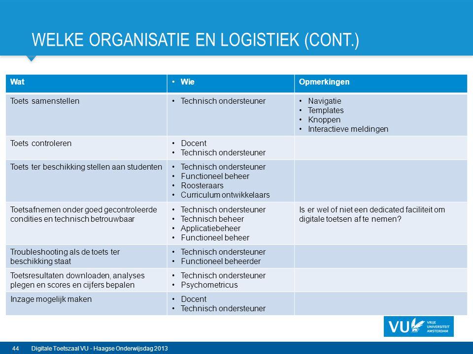 Welke organisatie en Logistiek (cont.)