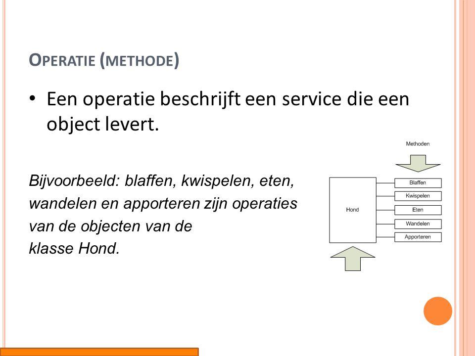 Een operatie beschrijft een service die een object levert.