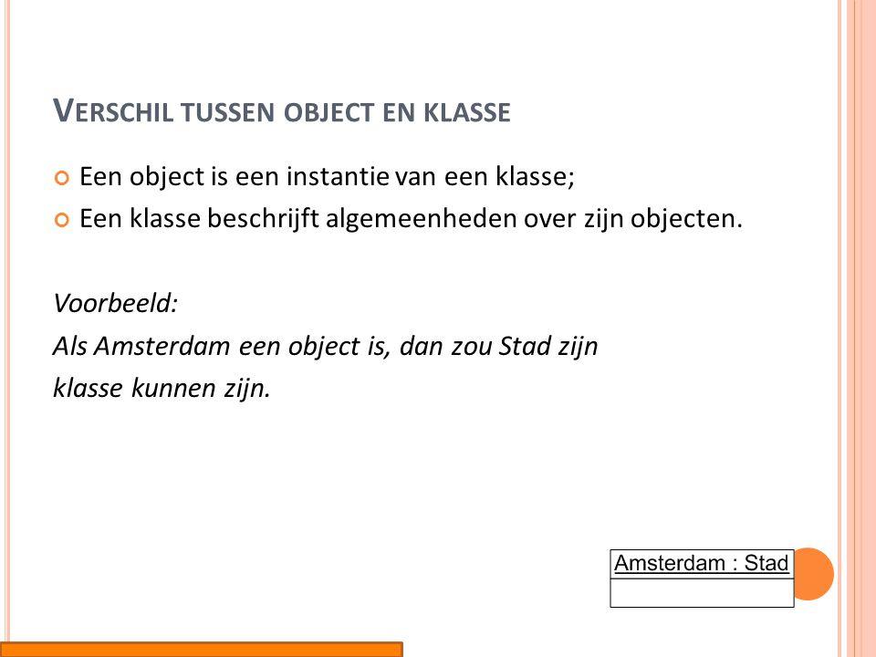 Verschil tussen object en klasse