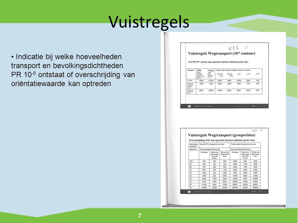 Vuistregels Indicatie bij welke hoeveelheden transport en bevolkingsdichtheden.