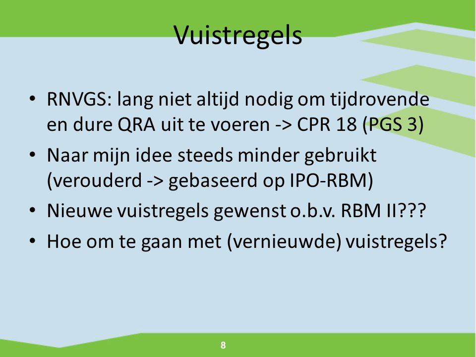 Vuistregels RNVGS: lang niet altijd nodig om tijdrovende en dure QRA uit te voeren -> CPR 18 (PGS 3)