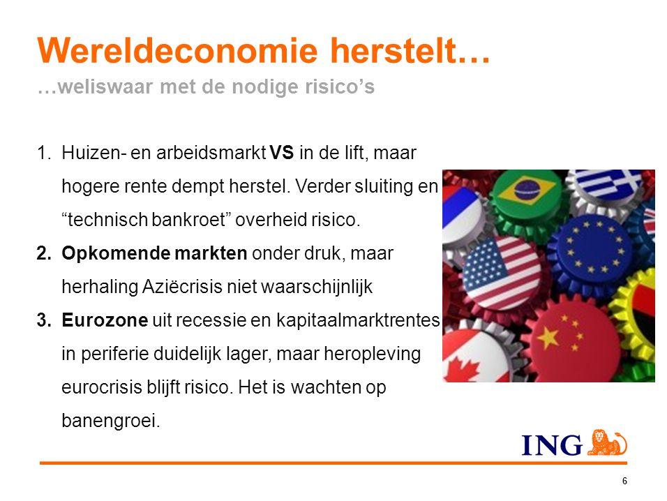 Wereldeconomie herstelt… …weliswaar met de nodige risico's