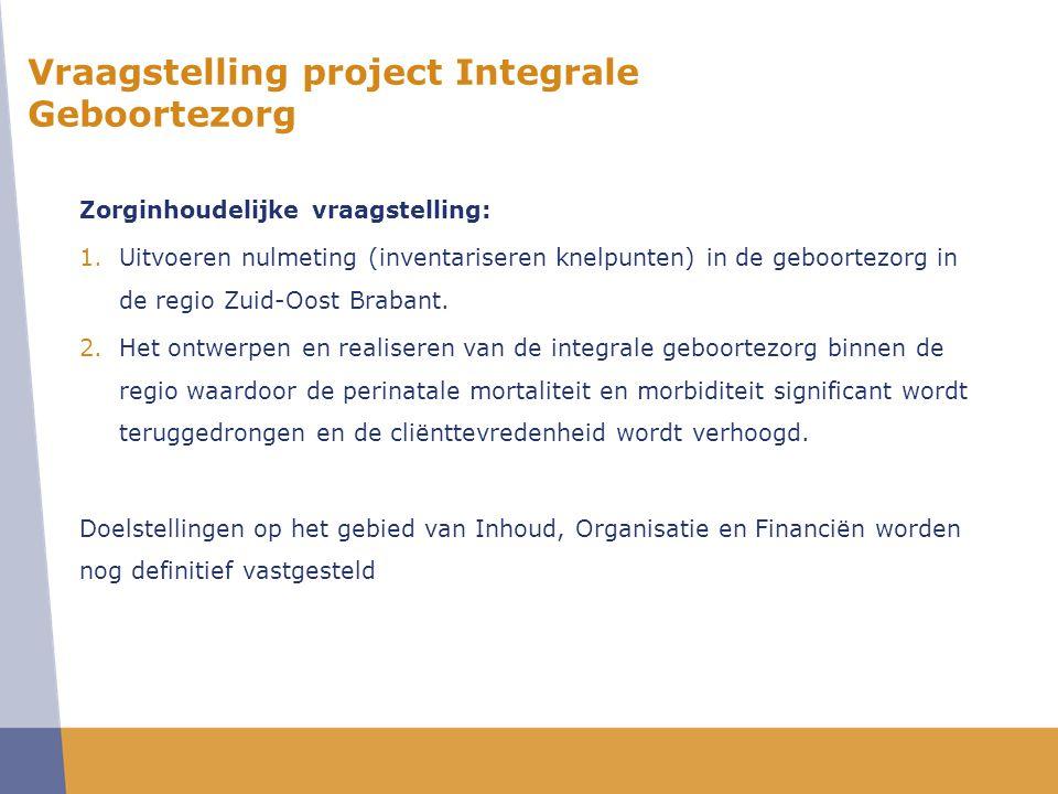 Vraagstelling project Integrale Geboortezorg